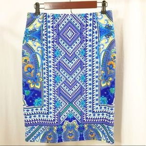 Antonio Melani Blue Floral Pencil Skirt Size 4